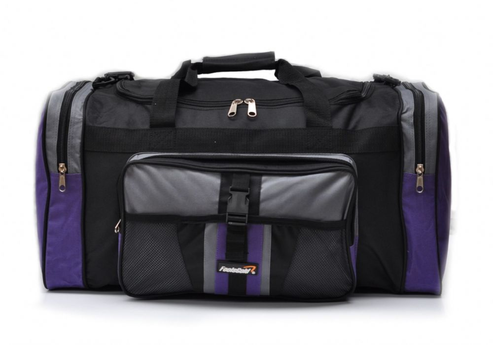 Large 50L foolsGold® Sports Holdall Bag - Black/Purple